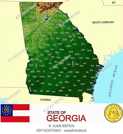 Georgia USA State counties emblem map