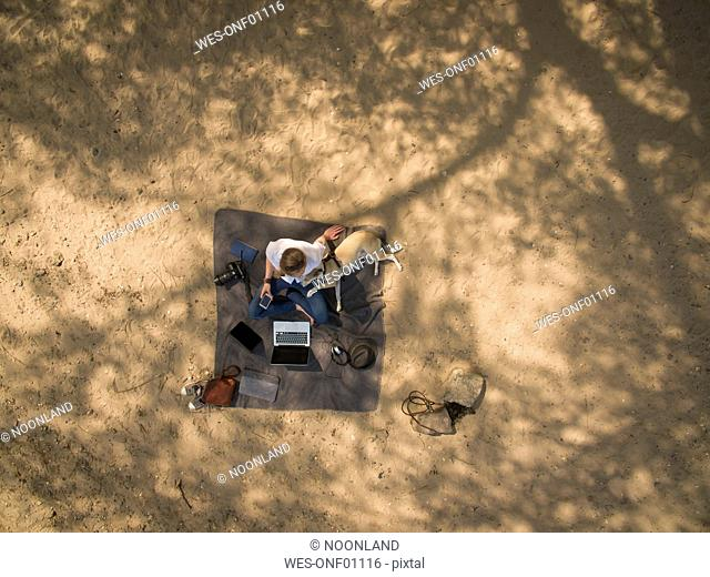 Bird's eye view of woman sitting on blanket with dog and laptop