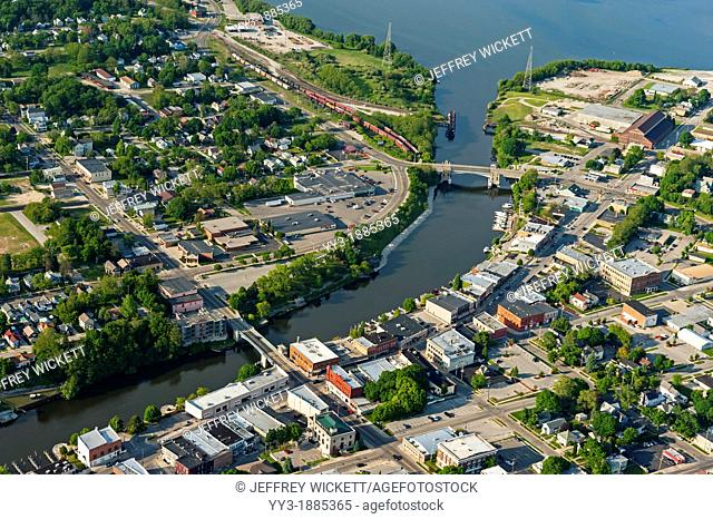 Bird's-eye-view of Lake Michigan port city, Manistee, Michigan, USA