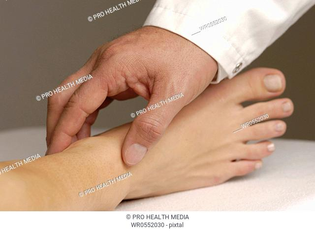 Physical examination : Palpation of pulse of Arteria tibialis posterior