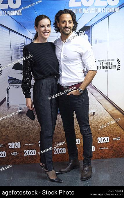 Matias Dumont, Raquel Sanchez Silva attends '2020' Documental Movie Exclusive Premiere at Wizink Center on November 26, 2020 in Madrid, Spain