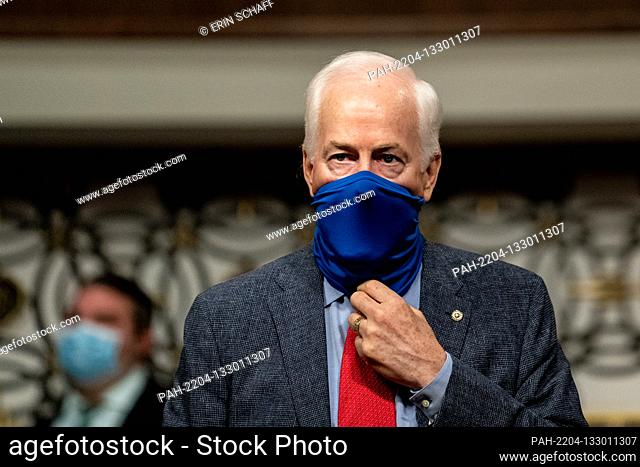 United States Senator John Cornyn (Republican of Texas) arrives for a US Senate Judiciary Committee business meeting to consider authorization for subpoenas...