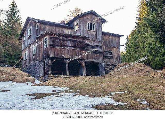 Abandoned wooden guesthouse on Wielka Sowa (Great Owl) mount in Landscape Park of Gory Sowie (Owl Mountains) range in Central Sudetes, Poland