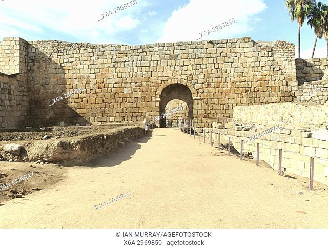 Walls inside Alcazaba castle building, Merida, Extremadura, Spain