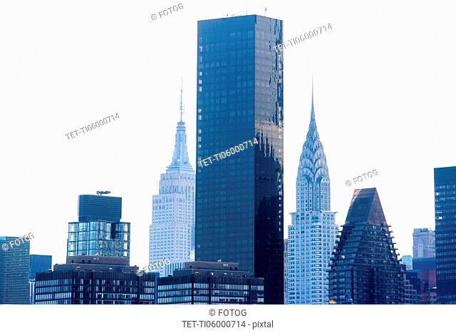 USA, New York State, New York City, Manhattan, Skyscrapers against sky
