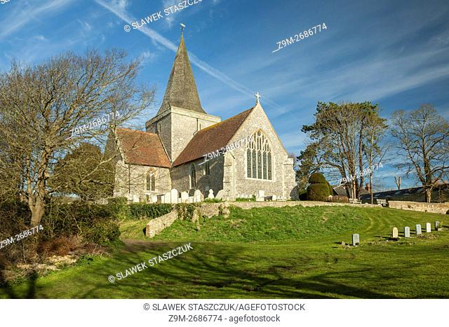 Spring morning at St Andrew's church in Alfriston, East Sussex, England. South Downs National park