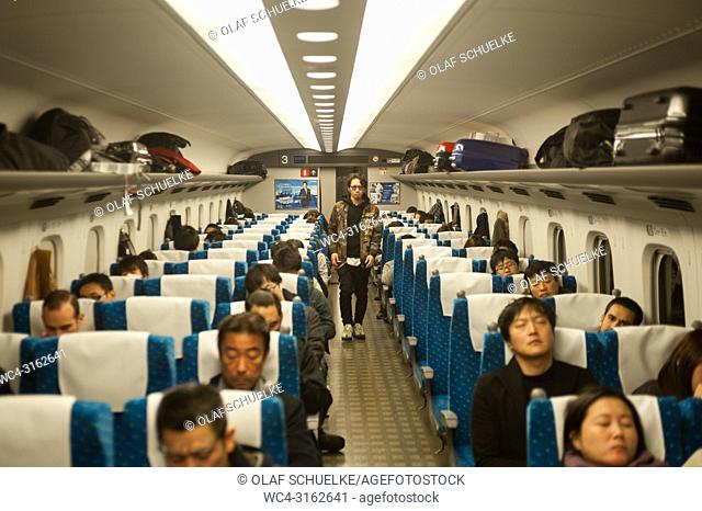 30. 12. 2017, Tokyo, Japan, Asia - A second-class cabin on the Shinkansen Bullet Train from Nagoya to Tokyo