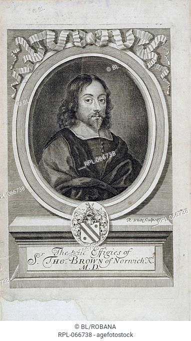 Sir Thomas Browne 1605-1682. English writer and physician. Portrait. Image taken from The Works of the Learned Sir Thomas Brown, Kt, etc