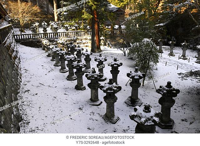 Stone lanterns of Futarasan Shrine in winter, Nikko, Japan, Asia