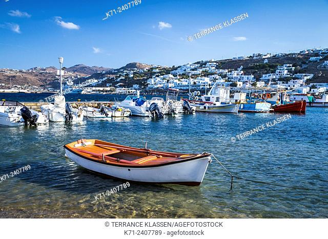 The small colorful harbour of Mykonos Town, Chora, Mykonos, Greece, Europe