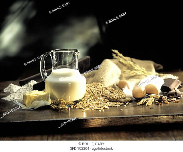 Baking Ingredients Still Life, Milk and Butter, Grain
