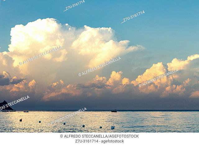 clouds on the Sicilian sea at the end of summer