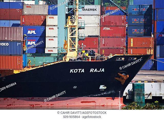 Singapore,Kampong Jagoh, Singapore Harbour, The Kota Raja merchant ship and containers