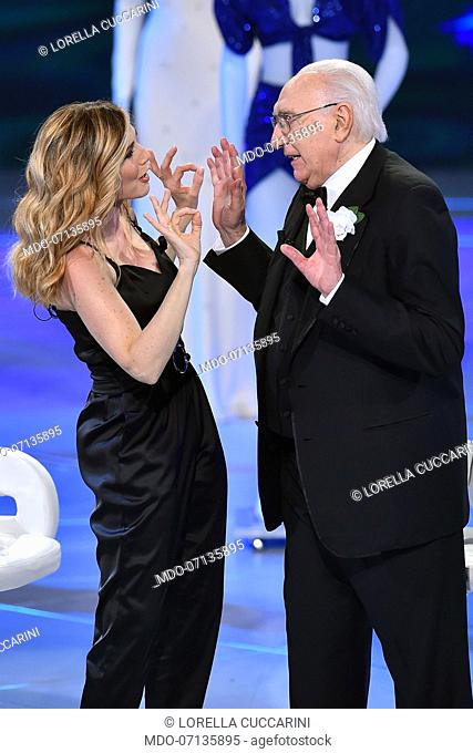 Italian dancer and showgirl Lorella Cuccarini and italian conductor Pippo Baudo during tv broadcast Buon Compleanno Pippo dedicated to Pippo Baudo to his 83...