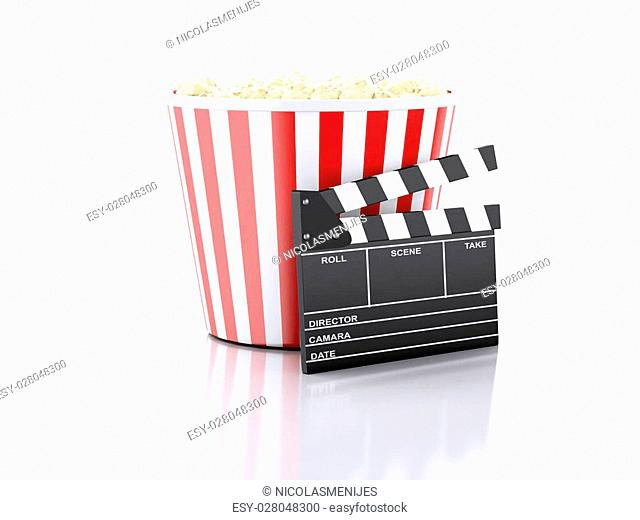 image of cinema clapper board and popcorn. cinematography concept. 3d image