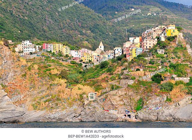 Corniglia, view from the sea . Cinque Terre , Liguria , Northern Italy , Europe