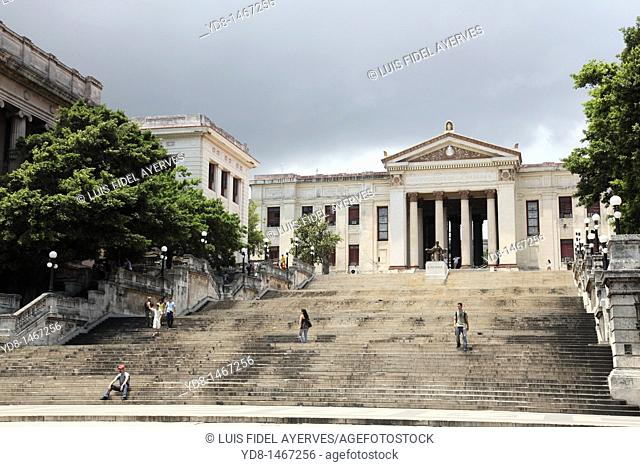 Steps of the University of Havana with his Alma Mater Monument, Havana, Cuba