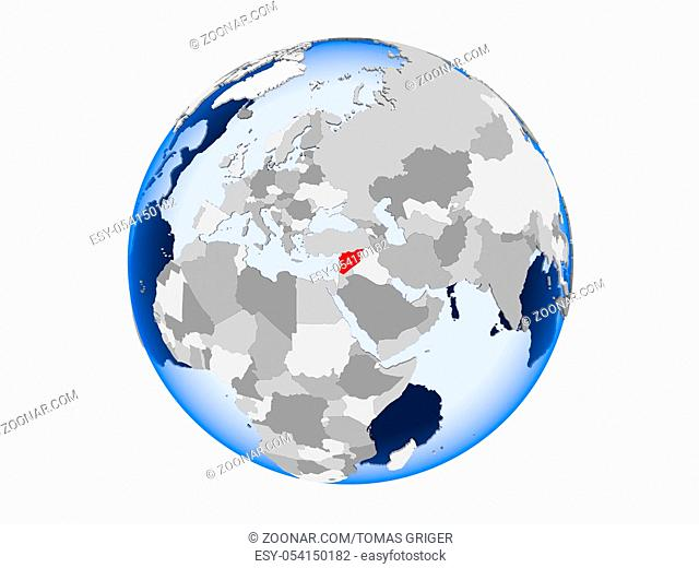 Syria highlighted in red on political globe with transparent oceans. 3D illustration isolated on white background
