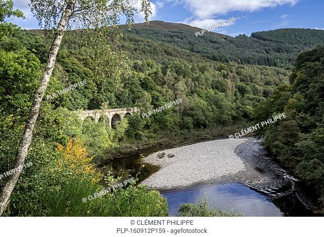 Railway viaduct at the Pass of Killiecrankie in Glen Garry, Perth and Kinross, Scotland, UK