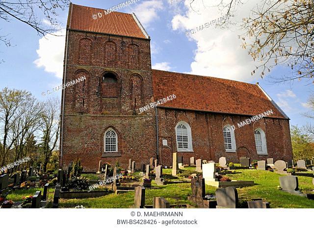 evangelic reformed Suurhusen church with the Leaning Tower of Suurhusen, Germany, Lower Saxony, East Frisia, Suurhusen
