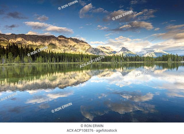 Canadian Rocky Mountains reflected in Spillway Lake, Peter Lougheed Provincial Park, Alberta
