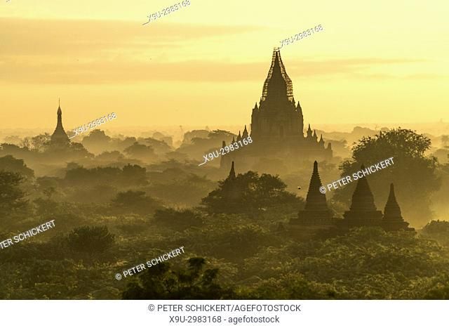 sunrise at the temples and pagodas, Bagan, Myanmar, Asia