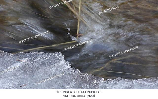 The snow is melting in spring: close up of a lively rivulet. Noraström, Västernorrlands Län, Sweden