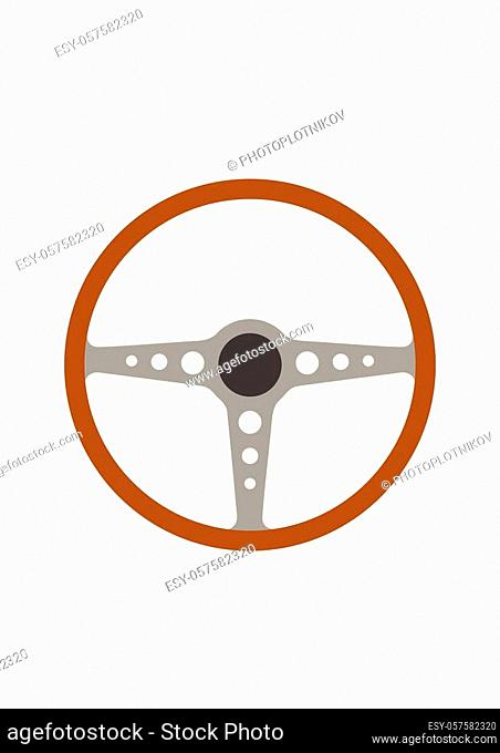 Steering wheel retro car icon isolated on white background. Car wheel control silhouette, Antique wooden classic car auto part driving in flat style