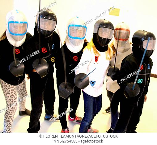 fencing lesson with young audience, children, kids