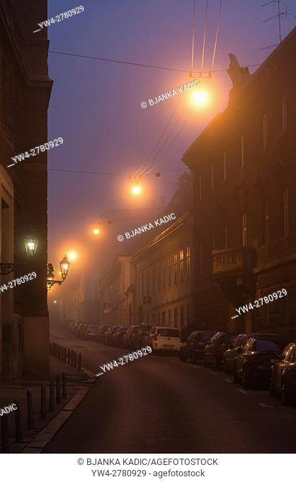 Atmospheric Opaticka Street at night in the winter, Upper Town, Zagreb, Croatia