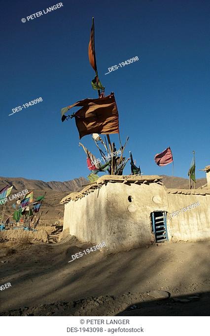Flags Fluttering In The Wind Over The Shrine Of Khoja Mohammad Baba Near Jalrez, Vardak Province, Afghanistan