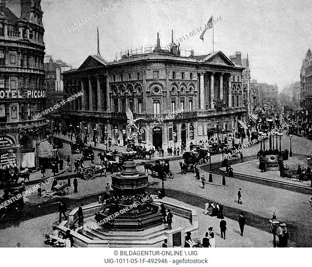 Early autotype of piccadilly circus, london, england, uk, historical picture, 1884