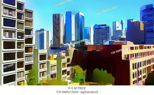 graphically reprocessed photograph of residential and commercial buildings at The Rocks, with Sydney city skyline behind