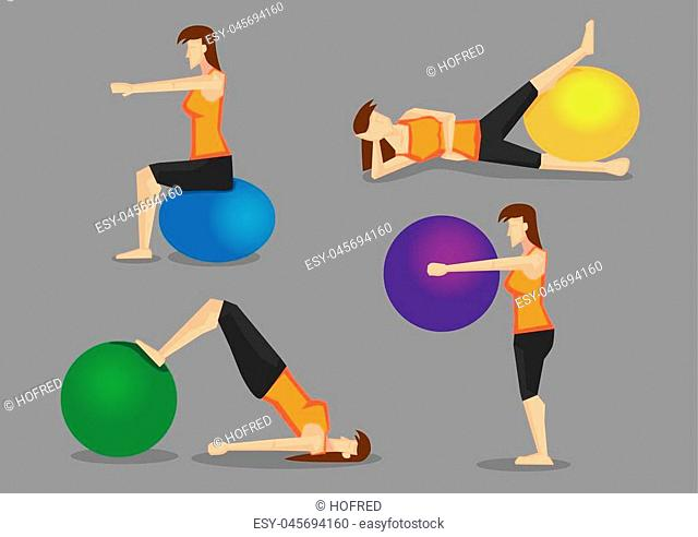 Set of four vector illustration of woman using colorful gym ball for workout programs isolated on plain grey background