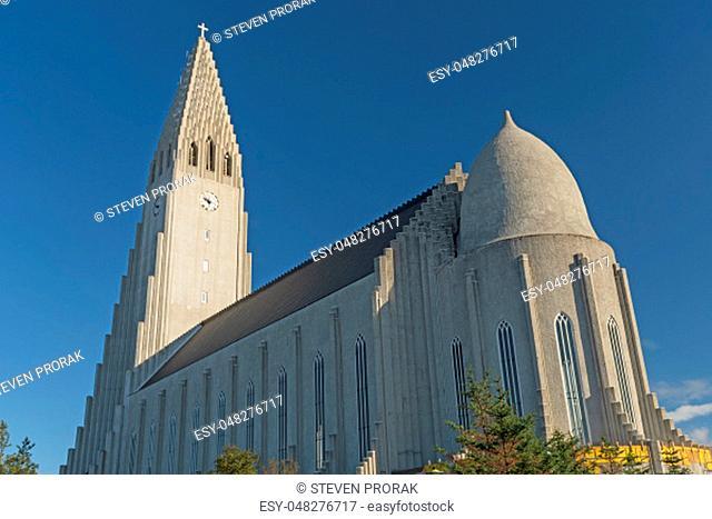 Dramatic Pinnacles in Hallgrímskirkja church in Reykjavik, Iceland