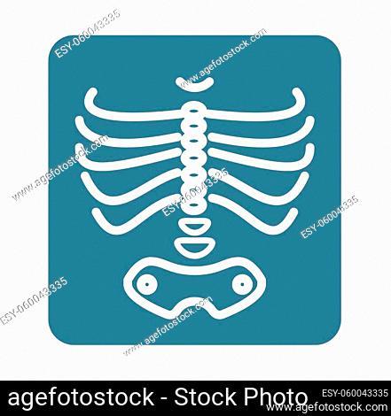 X-Ray Ribcage with Pelvic Bone - Icon as EPS 10 File