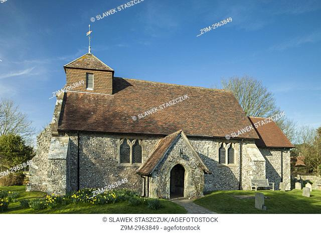 Early spring at the church in Friston village, East Sussex, England