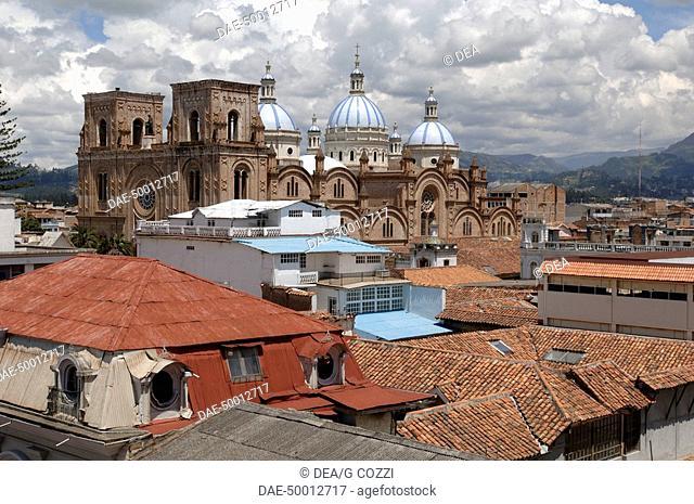 Ecuador - Azuay Province - Cuenca. Historic Cuenca. UNESCO World Heritage List, 1999. Catedral Vieja and blue domed Catedral Nueva