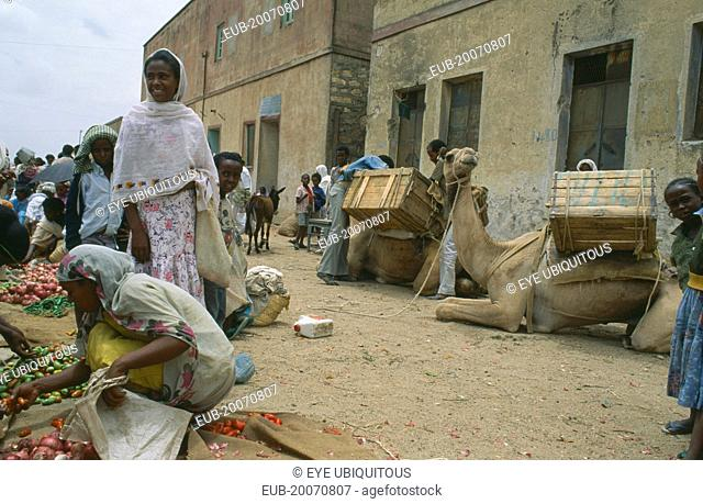 Market scene with women and children beside vegetable vendor with laden camels at side