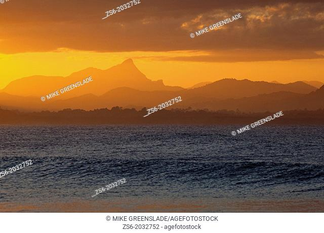Mt Warning sunset from The Pass, Byron Bay, NSW, Australia