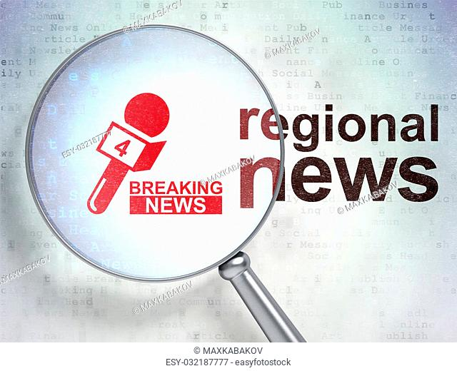 News concept: magnifying optical glass with Breaking News And Microphone icon and Regional News word on digital background