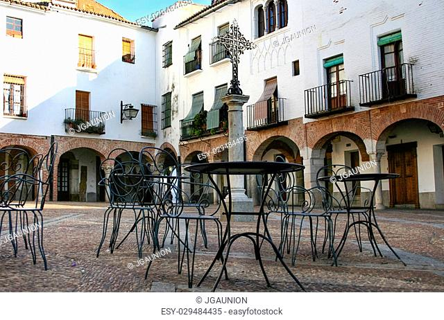 Plaza Chica, Small square of Zafra with pedestal tables, Badajoz, Spain