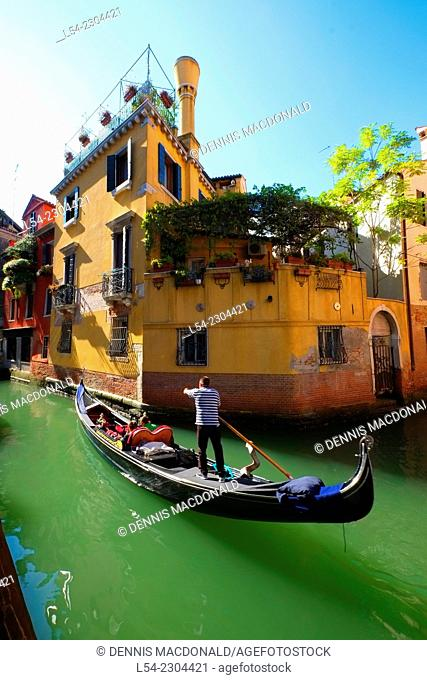 Gondola Canal Venice Italy IT Europe EU Adriatic Sea