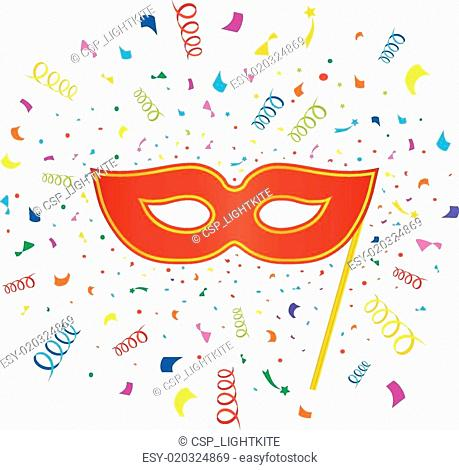 Bright carnival masks with confetti on white background, vector party poster template