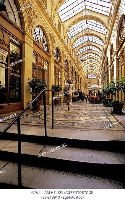 France, Paris, 2nd arrondissement, Gallerie Vivienne, a covered shopping gallery or 'passage couvert'