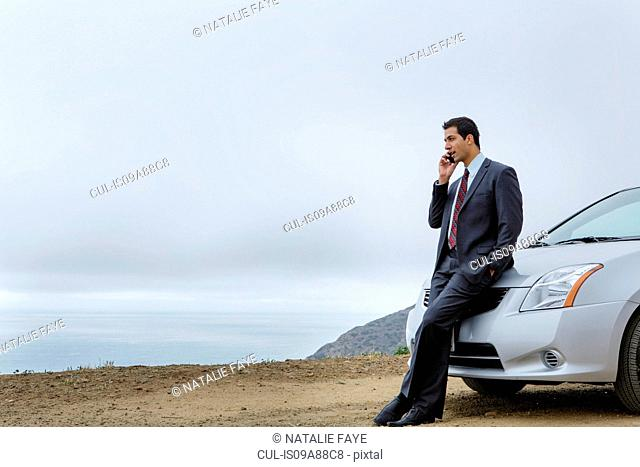 Businessman on cell phone leaning on car
