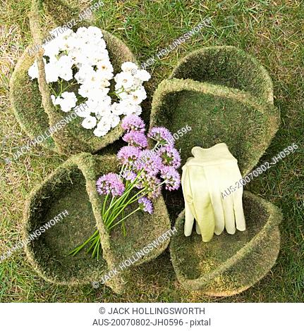 High angle view of flowers and gloves in baskets