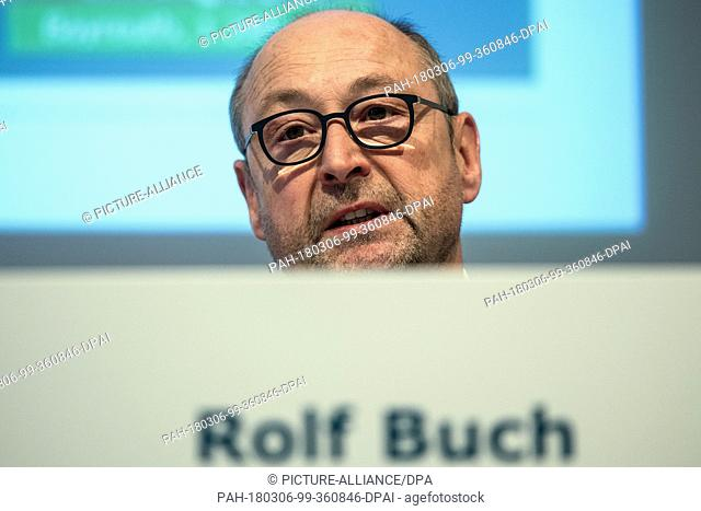 Chairman of the board Rolf Buch speaking during the annual financial statement press conference of the housing company Vonovia in Duesseldorf, Germany