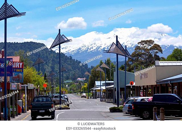 NATIONAL PARK, NZ - DEC 8 2014:Main street of Ohakune.Ohakune is a rural service town and a base for skiers using the Turoa skifield