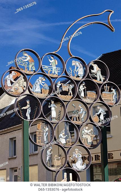 France, Marne, Champagne Region, Chatillon sur Marne, winemaking artwork